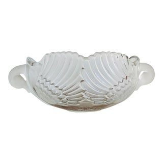 Vintage Mikasa Frosted Glass Swan Fruit Bowl For Sale