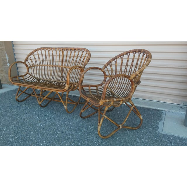 Boho Chic Vintage Franco Albini Rattan Loveseat and Chair - a Pair For Sale - Image 3 of 13