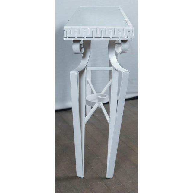 White Dorothy Draper Style Wrought Iron Console For Sale - Image 8 of 11
