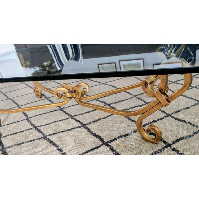 Vintage Wrought Iron Gold Beveled Glass Top Coffee Table For Sale - Image 10 of 11