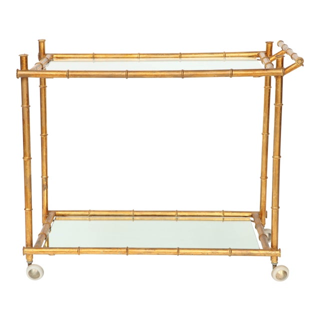Italian Gilt Iron Stylized Bamboo Serving / Bar Cart For Sale