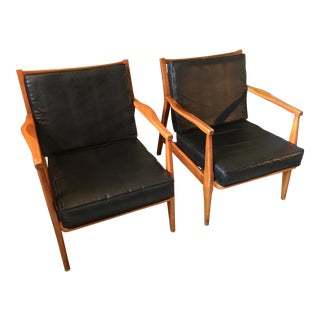 Mid Century Black Pleather Chairs - a Pair For Sale