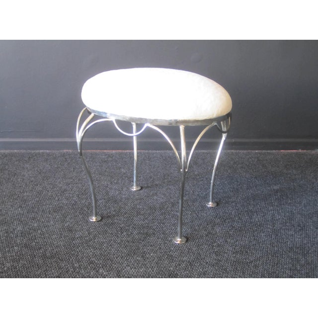 White Nickel Plated and Shearling Vanity Stool For Sale - Image 8 of 8