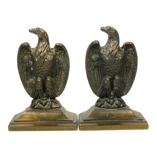 1960s Vintage Gold Cast Iron Eagle Bookends - a Pair For Sale