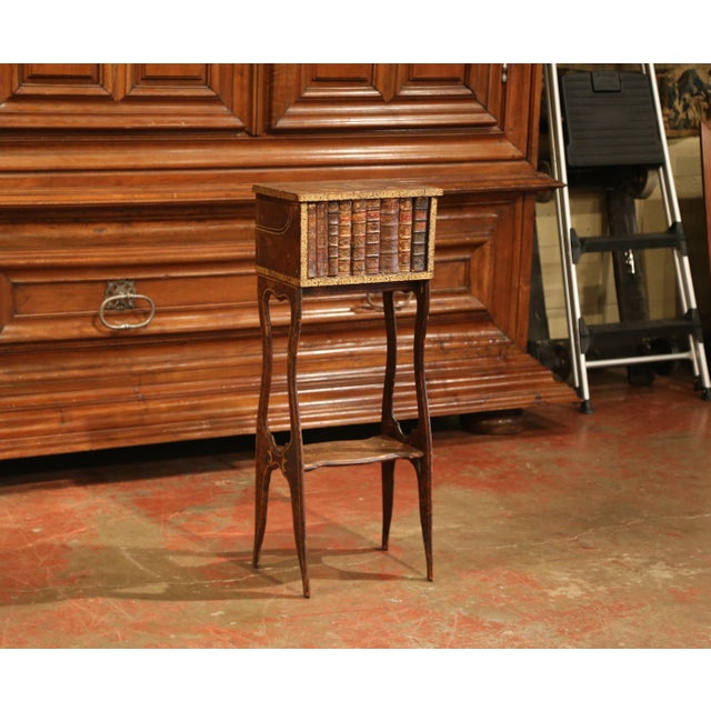 Early 19th Century French Faux Leather Bound Books Liquor Cabinet With Glasses For Sale - Image 9 of 11