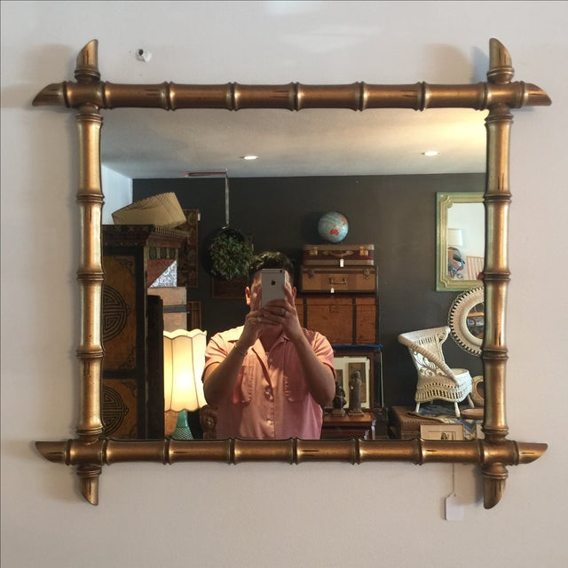 Hollywood Regency Gilded Bamboo Mirror - Image 2 of 7