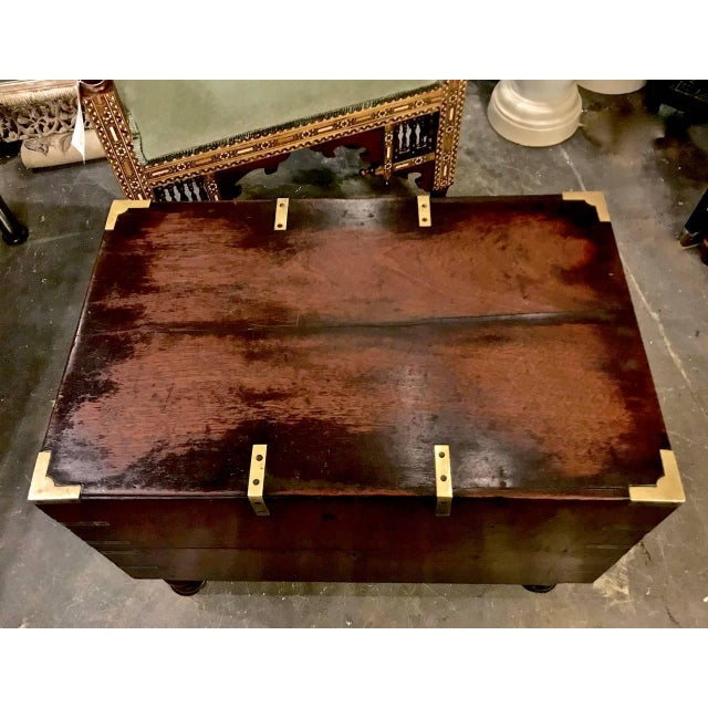 Early 19th Century English Mahogany Footed Campaign Chest or Trunk For Sale - Image 4 of 7