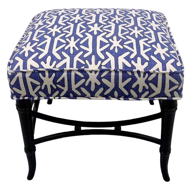 Black faux-bamboo stool. Painted black satin finish. Newly upholstered in Thibaut 'Rinca' dark blue-and-white linen fabric.
