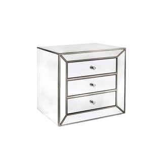 Mie 3 Drawers Studded Mirrored Nightstand For Sale