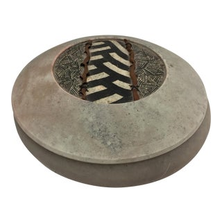 Adcock Neutral Black and White Geometric Designs Raku Pottery Jar For Sale