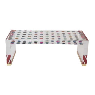 Unique Contemporary Lucite Coffee Table With Agate Inlaid Discs For Sale