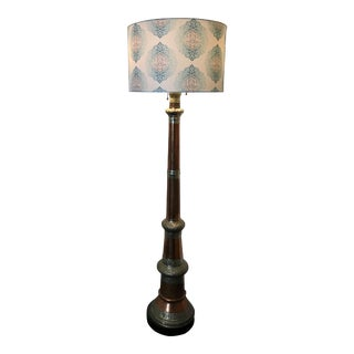 Vintage Moorish Copper and Stamped Metal Filigree Floor Lamp With Shade For Sale