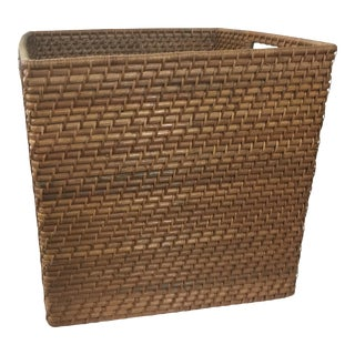 "Rattan Basket With Handels 17.75"" Tall For Sale"