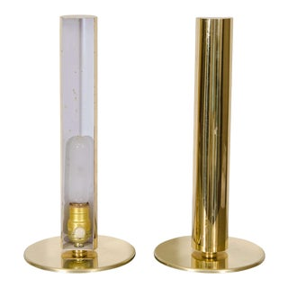 Mid-CenturyBrass Cylinder Table Lamps by Kovacs - a Pair For Sale