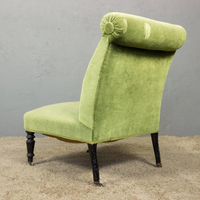 Napoleon III Slipper Chair in Green Velvet For Sale - Image 4 of 10