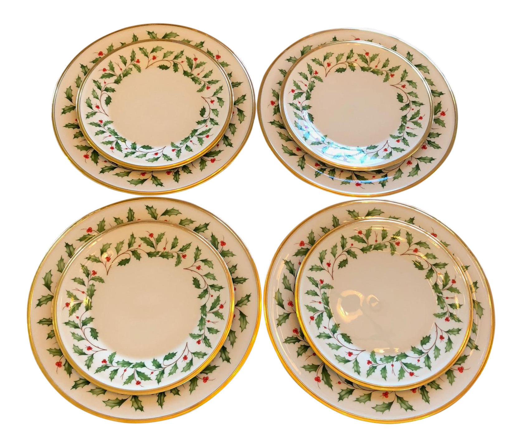 1980s Vintage Lenox Holly Berry Pattern Christmas China Plates Set Of 8