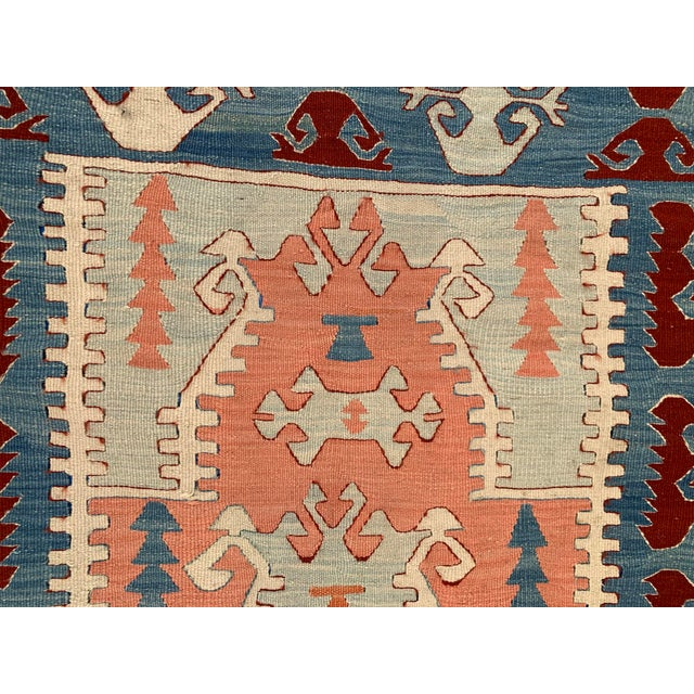 Blue and Coral Kilim Rug- 3′8″ × 5′2″ For Sale - Image 9 of 10