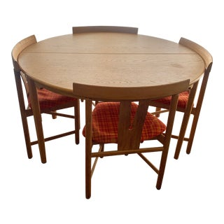 Mid Century Han Wegner Style Blonde Dining Set - 5 Pieces For Sale