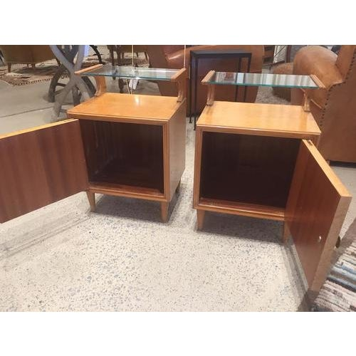 Glass Vintage Mid-Century Nightstands, France, a Pair For Sale - Image 7 of 8