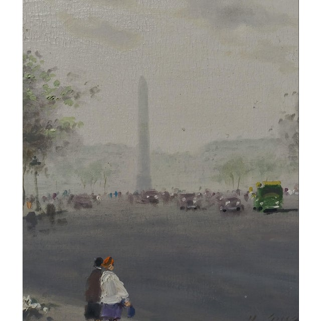 """Mid-Century Modern Mid 20th Century """"Luxor Obelisk Place Del La Concorde Paris"""" Oil Painting by Andre Gisson, Framed For Sale - Image 3 of 6"""