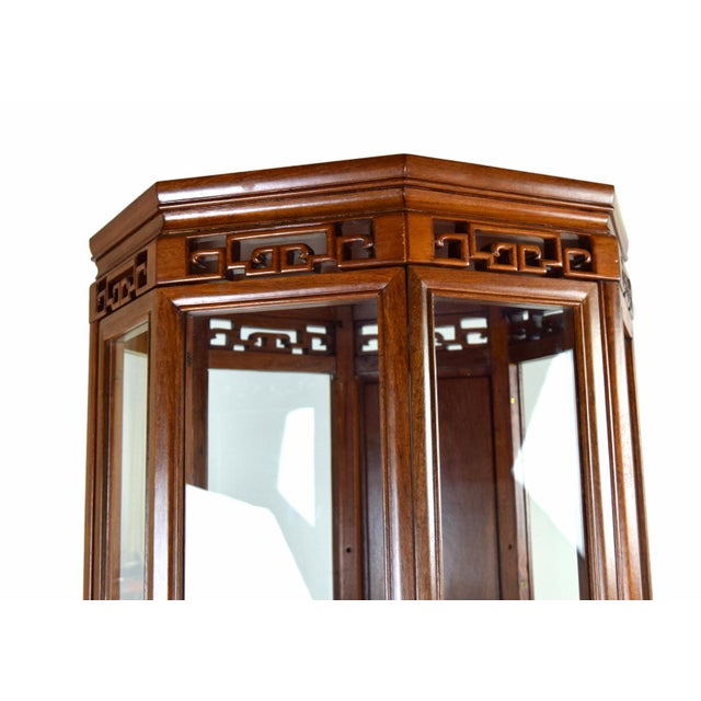 Vintage Asian Rosewood Octagonal Curio China Cabinet For Sale - Image 4 of 12