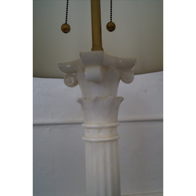 Monumental Pair of Carrara Marble Corinthian Column Table Lamps by Marboro AGE/COUNTRY OF ORIGIN: Approx 60 years, America...