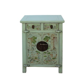 Chinese Light Pastel Green Oriental People Graphic End Table Nightstand For Sale