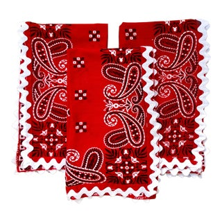Vintage Mid-Century Red Bandana Napkins - Set of 3 For Sale