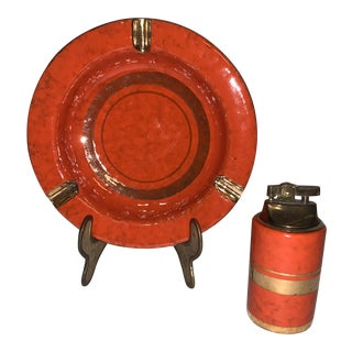 Italian Mid-Century Modern Orange With Gold Trim Ceramic Matching Ashtray and Lighter Set, Numbered For Sale