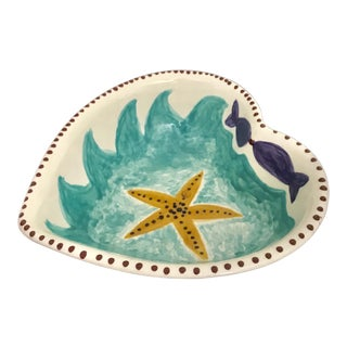 1999 Studio Starfish Nautical Heart Shaped Ceramic Bowl