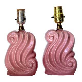 Vintage 1950's Art Deco Style Pink Ceramic Bedside Table Lamps - a Pair For Sale