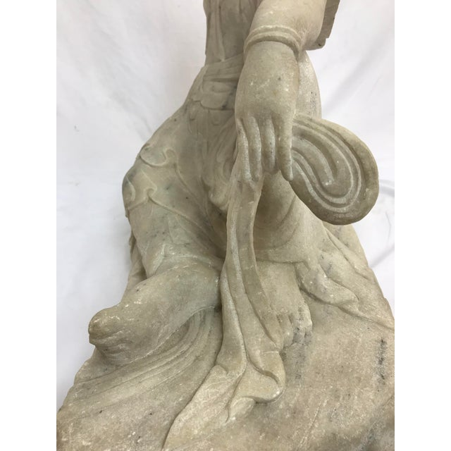Gray Guanyin / Guan Yin Bodhisattva Carved Marble Immortal Reclining Buddha Figure For Sale - Image 8 of 12
