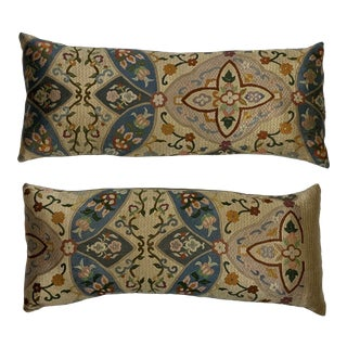 1970s Silk Needlepoint Pillows- a Pair For Sale