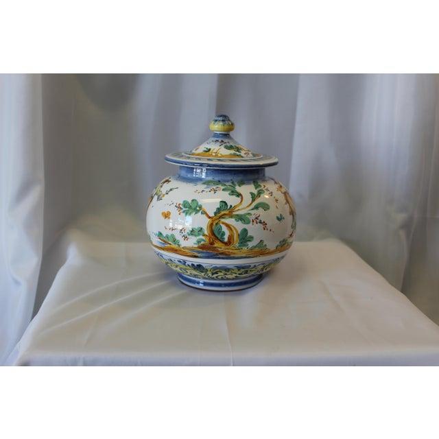 Vintage Ernan Italian Hand Painted Ceramic Lidded Urn For Sale - Image 4 of 10