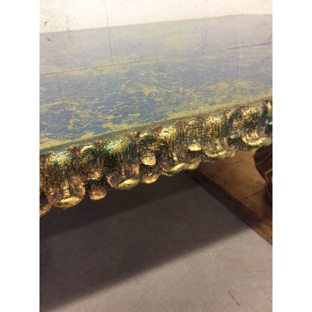 Blue Monumental Italian Gold Gilt Carved Wood & Painted Glass Top Coffee Table For Sale - Image 8 of 11