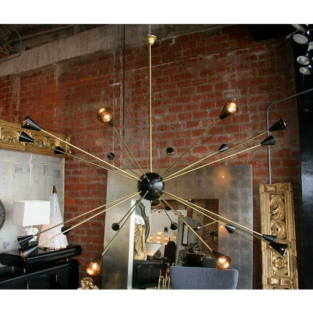 Does this light have an ego! Gorgeous enormous large brass and black lacquered 1970s Sputnik!