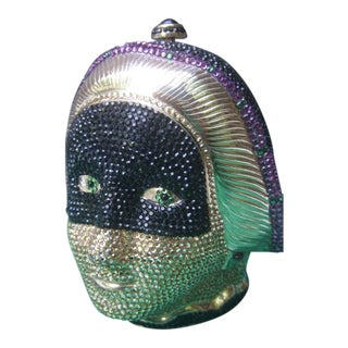Judith Leiber Exquisite Crystal Encrusted Figural Woman Minaudière C 1980s For Sale