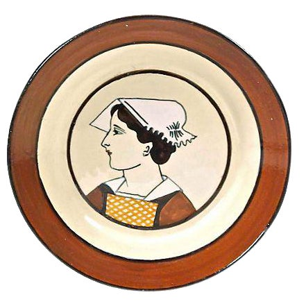 Antique French Quimper Maiden Plate For Sale