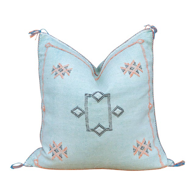 Cyra Large Square Moroccan Silk Rug Pillow For Sale