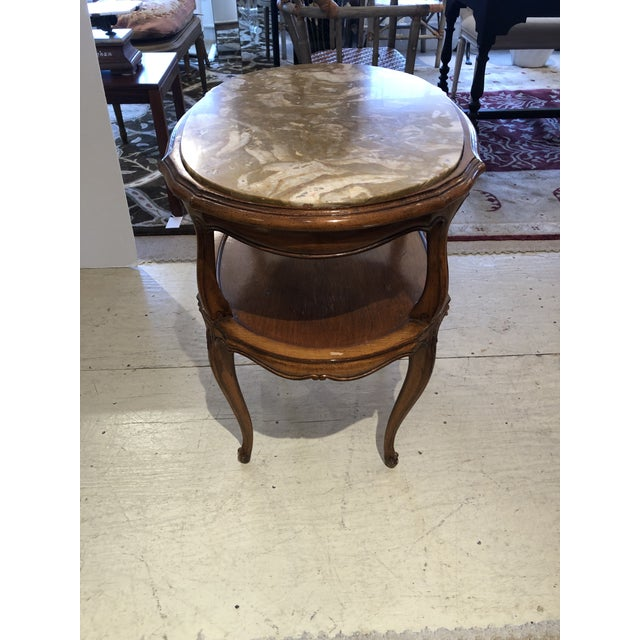 French Provincial Style Marble Inset Two-Tier Fruitwood Oval Side Table For Sale In Philadelphia - Image 6 of 13
