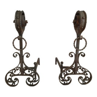 19th C. French Iron Andirons - A Pair For Sale