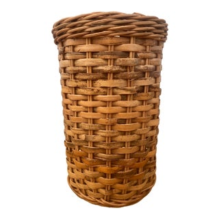 Vintage Natural Woven Wicker Bamboo Rattan Wine Holder For Sale