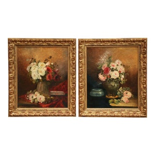 Pair of 19th Century French Signed Still Life Flower Paintings in Gilt Frames For Sale