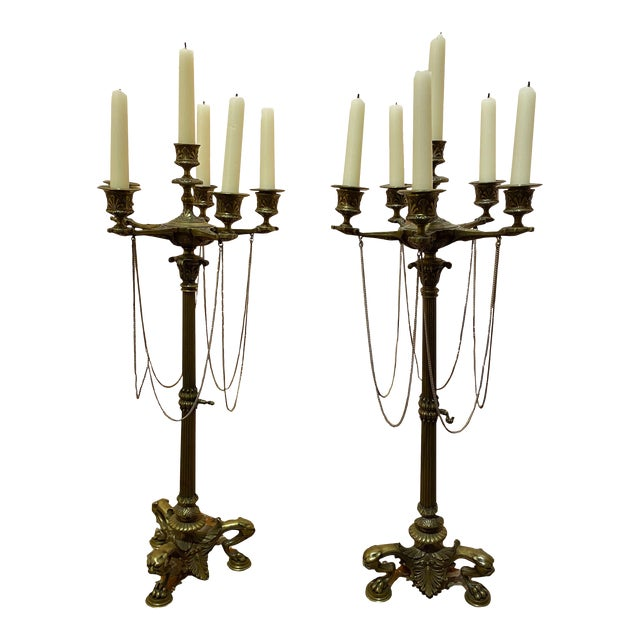 French Empire Bronze Candelabrum - a Pair For Sale