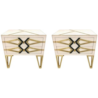 Bespoke Cosulich Creation Pair Gold Brass Black & White Side Tables/Nightstands For Sale