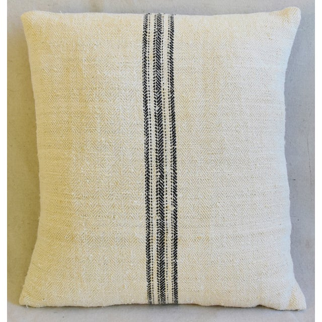 """Abstract French Woven Black Striped Grain Sack Feather/Down Pillows 20"""" X 21"""" - Pair For Sale - Image 3 of 12"""