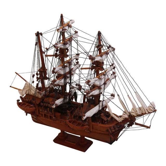 Traditional Hand Carved Ship Model For Sale - Image 10 of 10