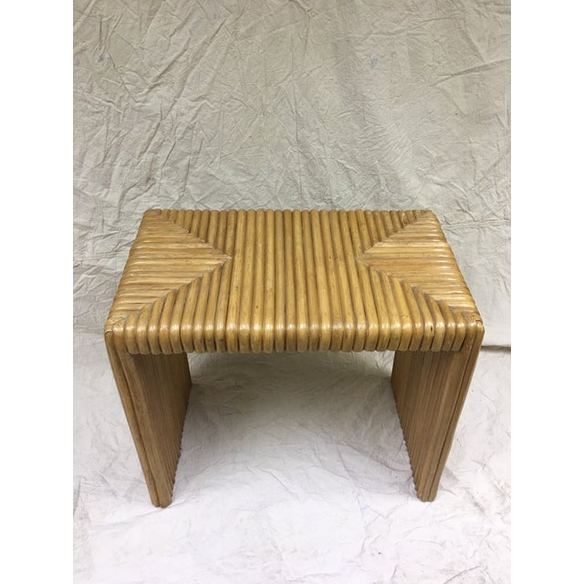 Contemporary 1970s Contemporary Cane Bamboo Waterfall Side Table For Sale - Image 3 of 8