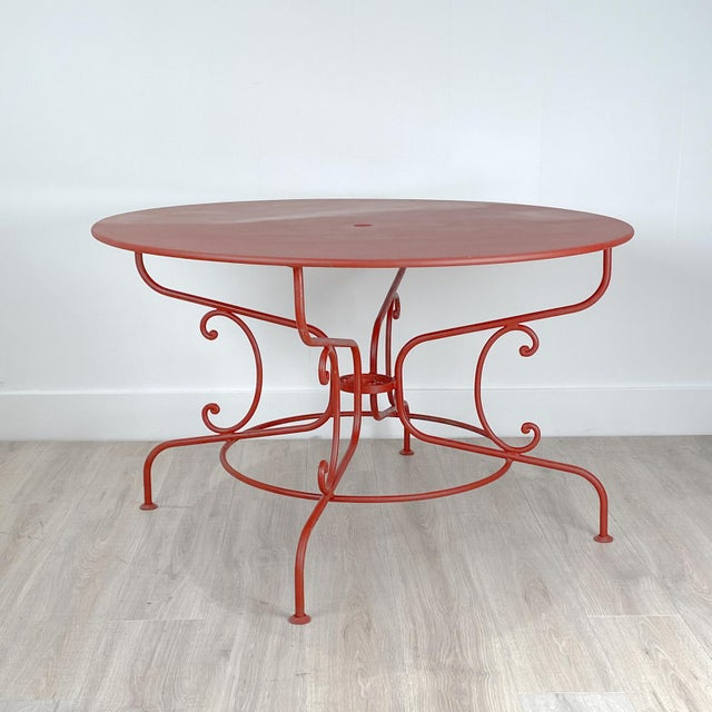 1950s Large Mid-Century Vintage French Red Garden Table For Sale - Image 5 of 7