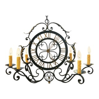French Faux Clock Six-Light Hanging Fixture of Wrought Iron For Sale